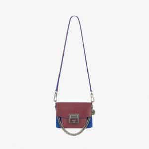 Givenchy Eggplant/Blue Leather/Suede GV3 Mini Flap Bag