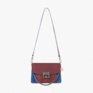Givenchy Eggplant/Blue Leather/Suede GV3 Small Flap Bag