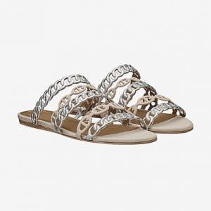 Hermes Argent Nappa Calfskin Nude Sandals