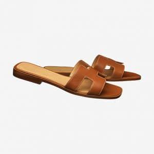 Hermes Gold Oran Sandals