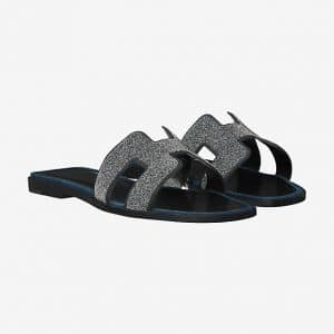 Hermes Marine Suede Goatskin with Crystals Oran Sandals