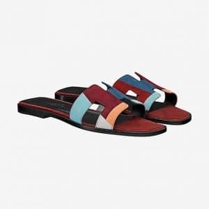 Hermes Multicolor Suede Goatskin Oran Sandals