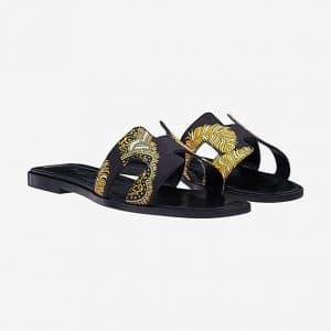 Hermes Noir Sous L'Egide de Mars Print Oran Sandals