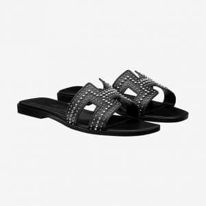 Hermes Noir Studded Oran Sandals