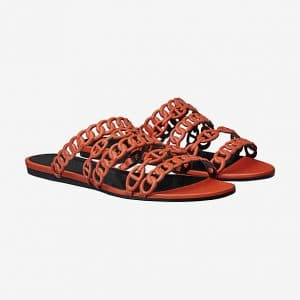 Hermes Orange Nappa Calfskin Nude Sandals