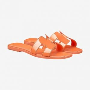 Hermes Orange Patent Oran Sandals