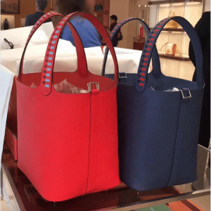 Hermes Red and Bleu Picotin Lock 22 Bags with Braided Handles