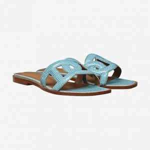 Hermes Turquoise Lizard Omaha Sandals