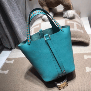 Hermes Turquoise Picotin Lock 22 Bag with Braided Handles