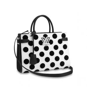 Louis Vuitton White/Noir Polka Dots Twist Tote Bag