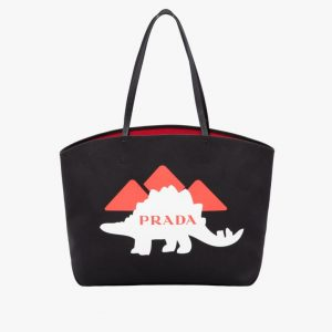 Prada Black Dino Print Canvas Large Tote Bag