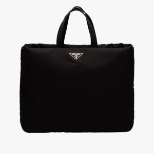 Prada Black Large Padded Nylon Tote Bag