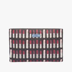 Prada Black Lipstick Print Etiquette Clutch Bag