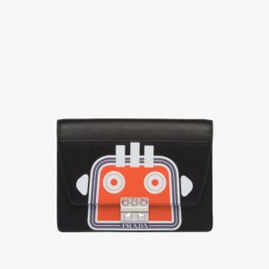 Prada Black Robot Print Elektra Small Shoulder Bag