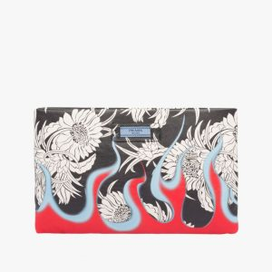 Prada Black/Red Floral Print Etiquette Clutch Bag