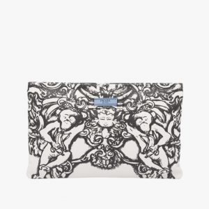 Prada Black/White Monkey Print Etiquette Clutch Bag