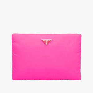 Prada Fuchsia Large Padded Nylon Clutch Bag