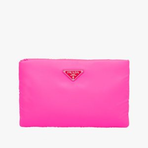 Prada Fuchsia Medium Padded Nylon Clutch Bag