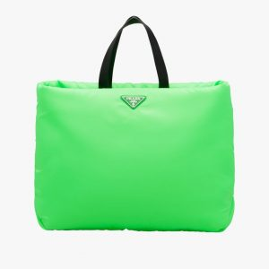 Prada Green Large Padded Nylon Tote Bag