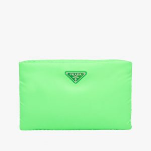 Prada Green Medium Padded Nylon Clutch Bag