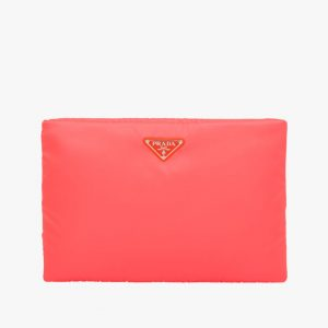 Prada Red Large Padded Nylon Clutch Bag