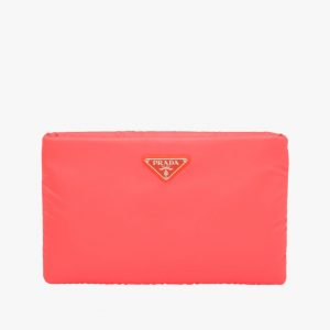 Prada Red Medium Padded Nylon Clutch Bag