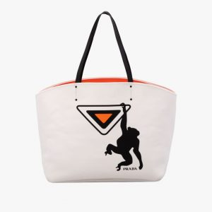 Prada White Monkey Print Canvas Large Tote Bag