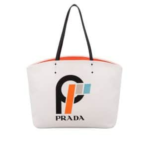 Prada White Printed Canvas Large Tote Bag
