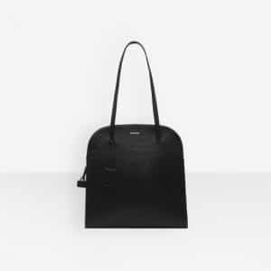 Balenciaga Black Ostrich Effect Miami Bag M