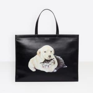 Balenciaga Black Puppy and Kitten Market Shopper M Bag