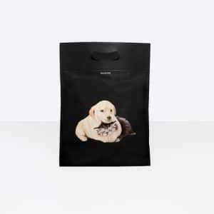 Balenciaga Black Puppy and Kitten Plastic Bag Shopper M