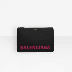 Balenciaga Black/Bubble Gum Ville Pouch M Bag