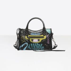 Balenciaga Black/Multicolor Classic Mini City Graffiti Bag