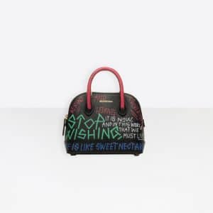 Balenciaga Black/Multicolor Ville Top Handle XXS Graffiti Bag