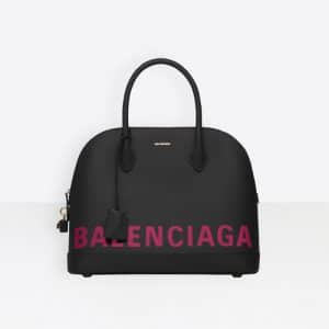 Balenciaga Black/Pink Logo Ville Top Handle M Bag