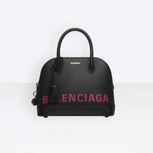 Balenciaga Black/Pink Logo Ville Top Handle S Bag