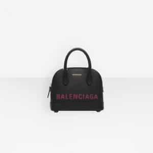 Balenciaga Black/Pink Logo Ville Top Handle XXS Bag