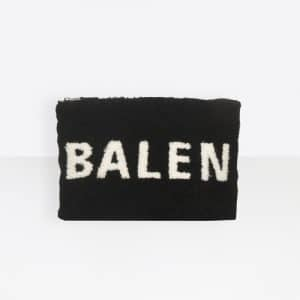 Balenciaga Black/White Logo Everyday Shearling Pouch Bag