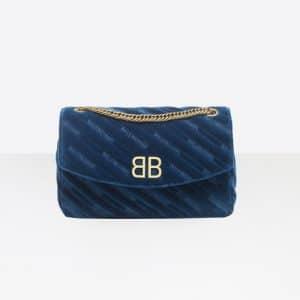 Balenciaga Bleu Nuit BB Chain M Quilted Velvet Bag