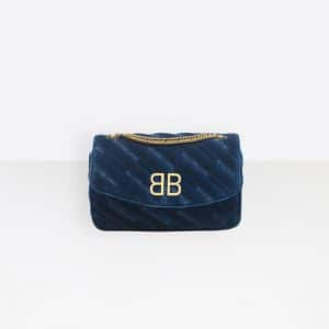 Balenciaga Bleu Nuit BB Chain Wallet Quilted Velvet Bag