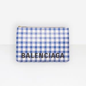 Balenciaga Blue/White Ville Pouch L Check Bag