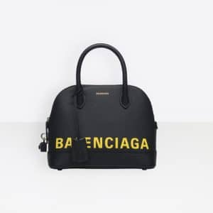 Balenciaga Navy/Yellow Logo Ville Top Handle S Bag