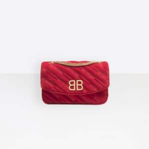 Balenciaga Red BB Chain Wallet Quilted Velvet Bag