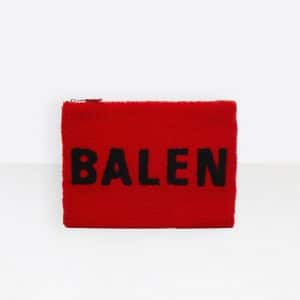 Balenciaga Red/Black Logo Everyday Shearling Pouch Bag