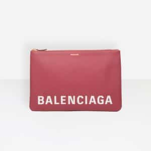 Balenciaga Rouge Grenat Ville Pouch L Bag