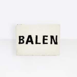 Balenciaga White/Black Logo Everyday Shearling Pouch Bag