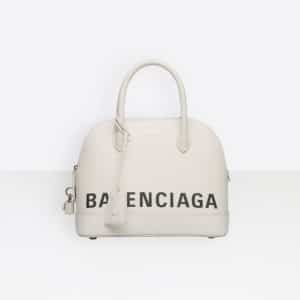 Balenciaga White/Black Logo Ville Top Handle S Bag