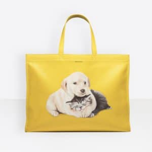 Balenciaga Yellow Puppy and Kitten Market Shopper M Bag