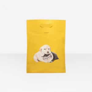 Balenciaga Yellow Puppy and Kitten Plastic Bag Shopper M