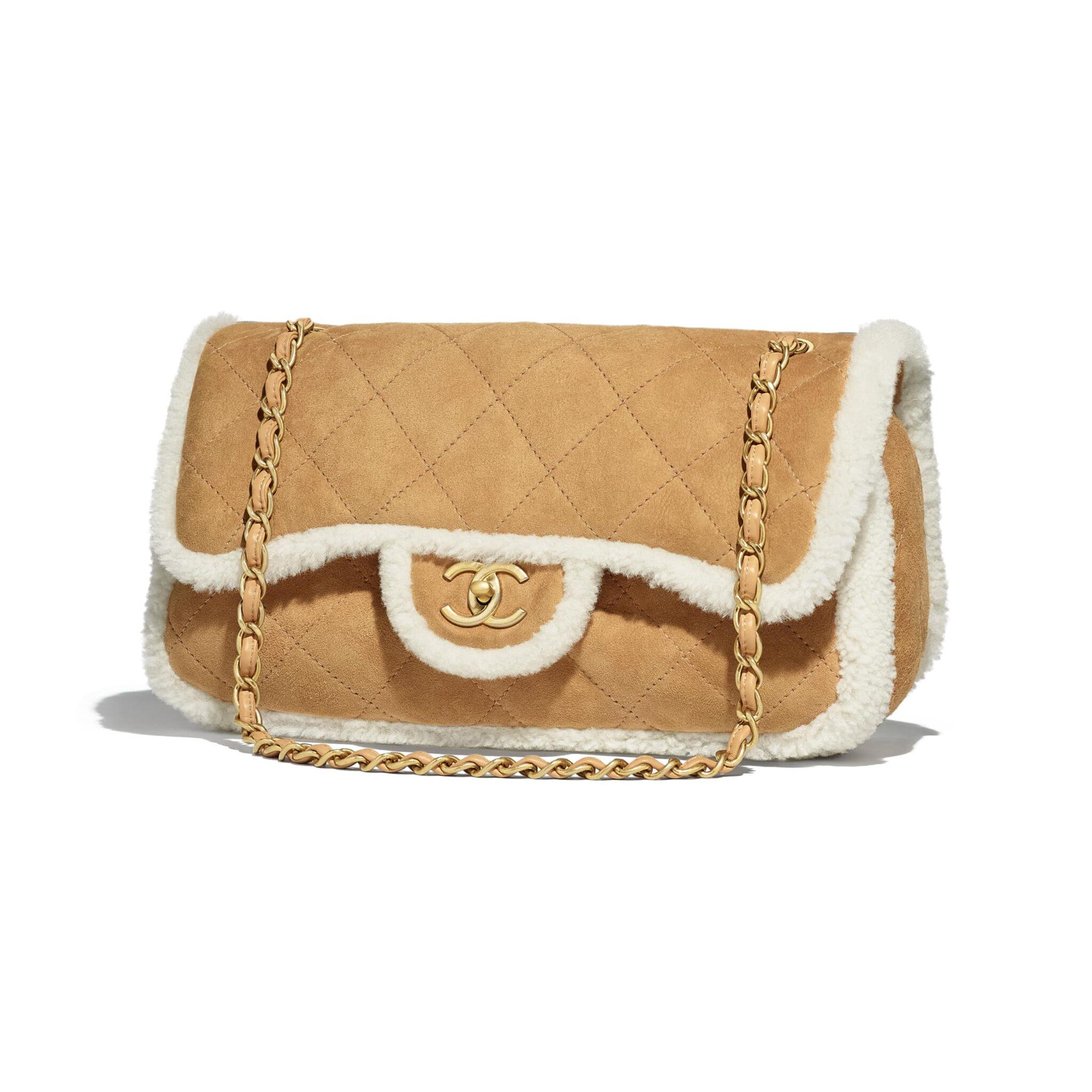 Chanel Beige Shearling Lambskin Coco Neige Medium Flap Bag 79bbec4aa26f3